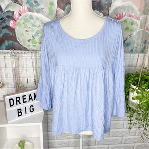 Pink Lily NEW Periwinkle Ribbed Knit Blouse